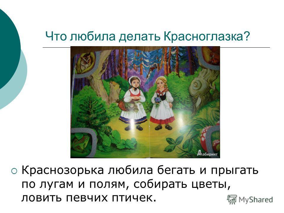Что любила делать Красноглазка? Краснозорька любила бегать и прыгать по лугам и полям, собирать цветы, ловить певчих птичек.