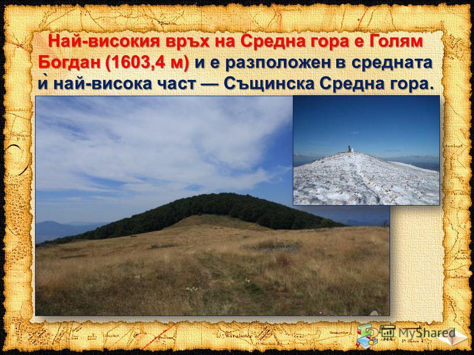 Най-високия връх на Средна гора е Голям Богдан (1603,4 м) и е разположен в средната ѝ най-висока част Същинска Средна гора.