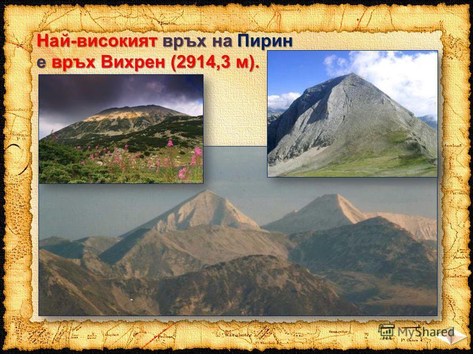 Най-високият връх на Пирин е връх Вихрен (2914,3 м).