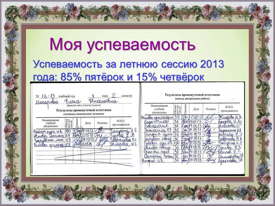 Моя успеваемость Успеваемость за летнюю сессию 2013 года: 85% пятёрок и 15% четвёрок