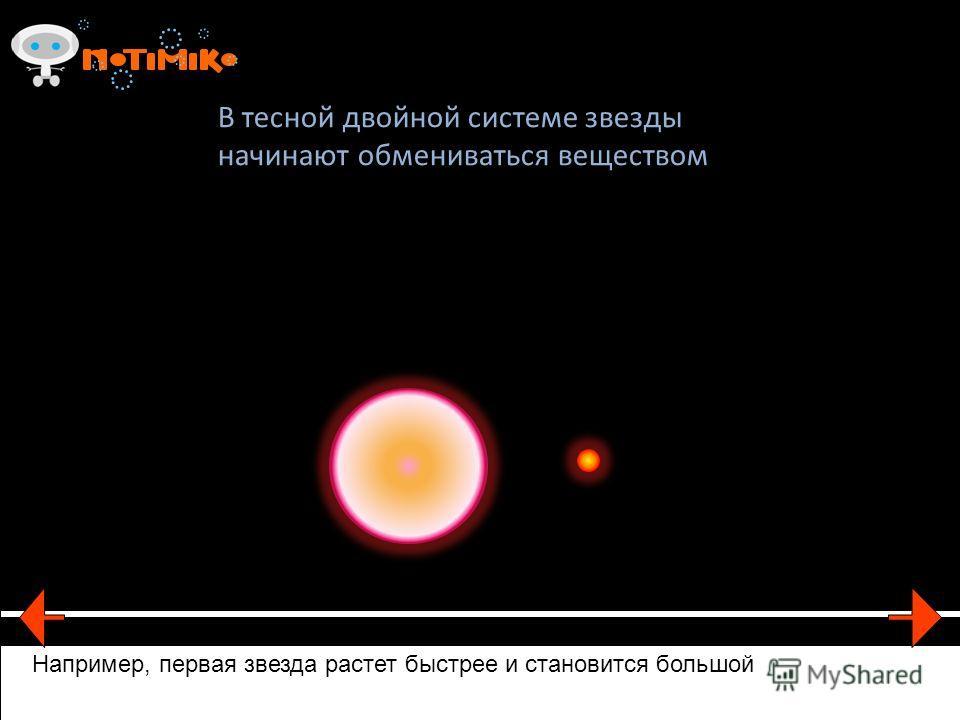 В тесной двойной системе звезды начинают обмениваться веществом Например, первая звезда растет быстрее и становится большой