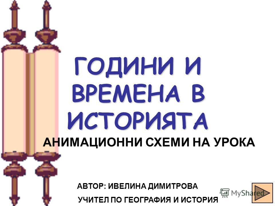 Александр ХУДОБЕЦ Киев спецшкола 173 1 ГОДИНИ И ВРЕМЕНА В ИСТОРИЯТА АНИМАЦИОННИ СХЕМИ НА УРОКА АВТОР: ИВЕЛИНА ДИМИТРОВА УЧИТЕЛ ПО ГЕОГРАФИЯ И ИСТОРИЯ