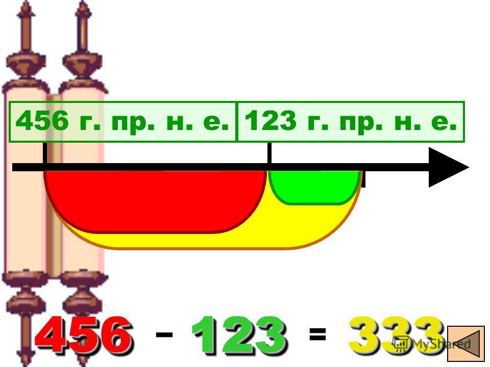 20 456 г. пр. н. е.123 г. пр. н. е. 456 456 - 123123333333 =