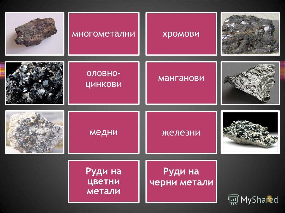 многометалнихромови оловно- цинкови манганови медни железни Руди на цветни метали Руди на черни метали