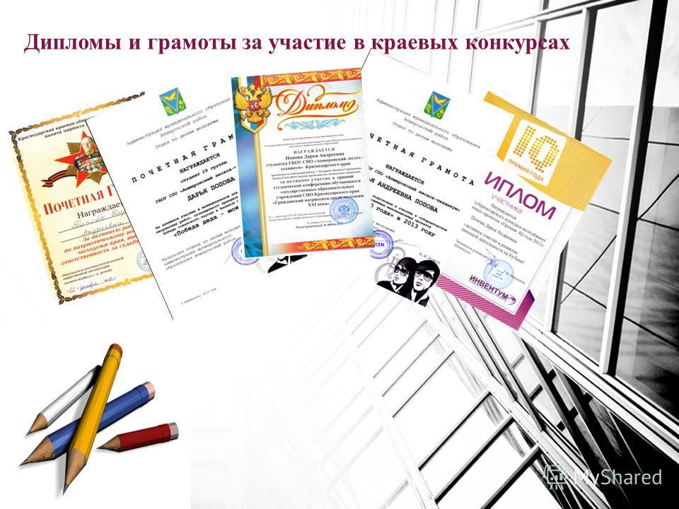 Дипломы и грамоты за участие в краевых конкурсах