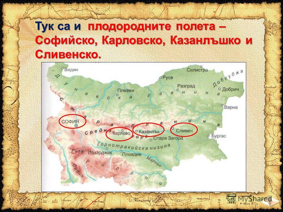 Тук са и плодородните полета – Софийско, Карловско, Казанлъшко и Сливенско.