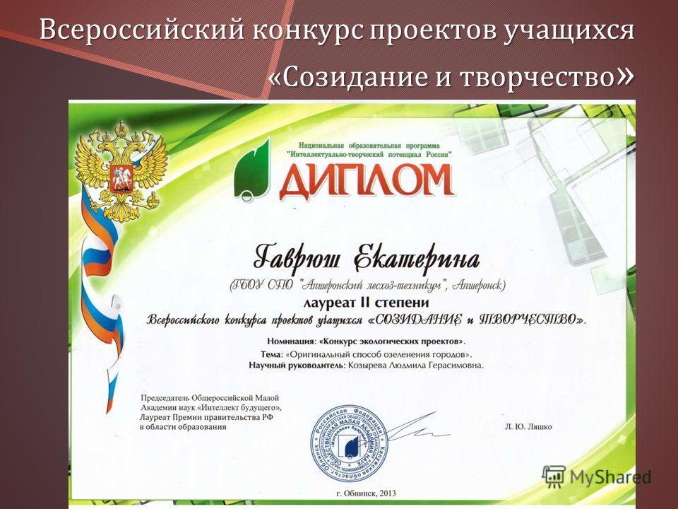Всероссийский конкурс проектов учащихся « Созидание и творчество »