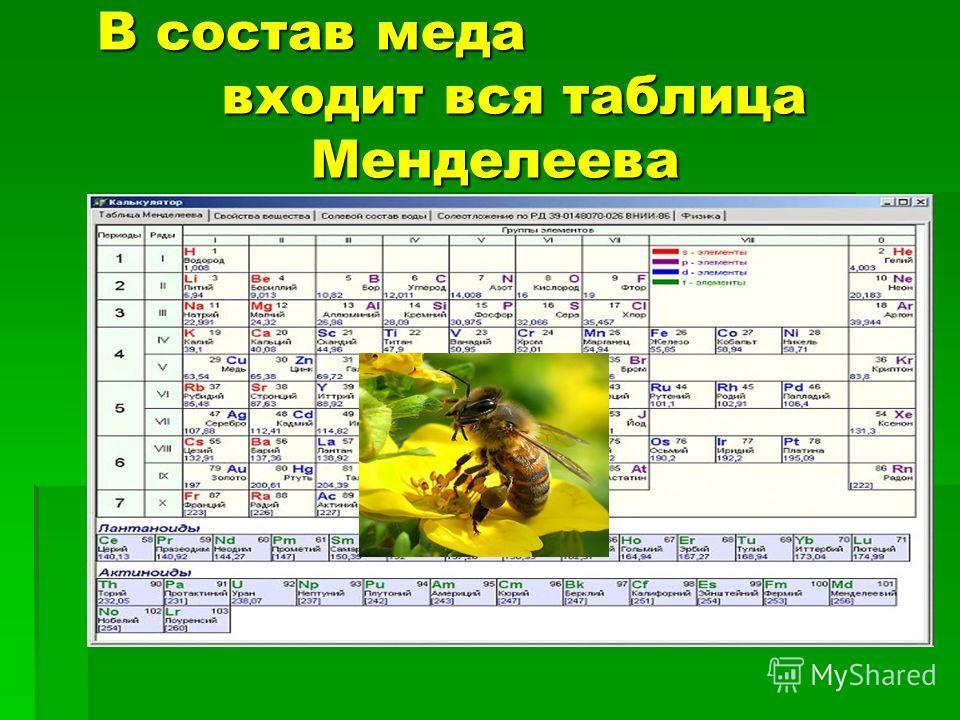 В состав меда входит вся таблица Менделеева