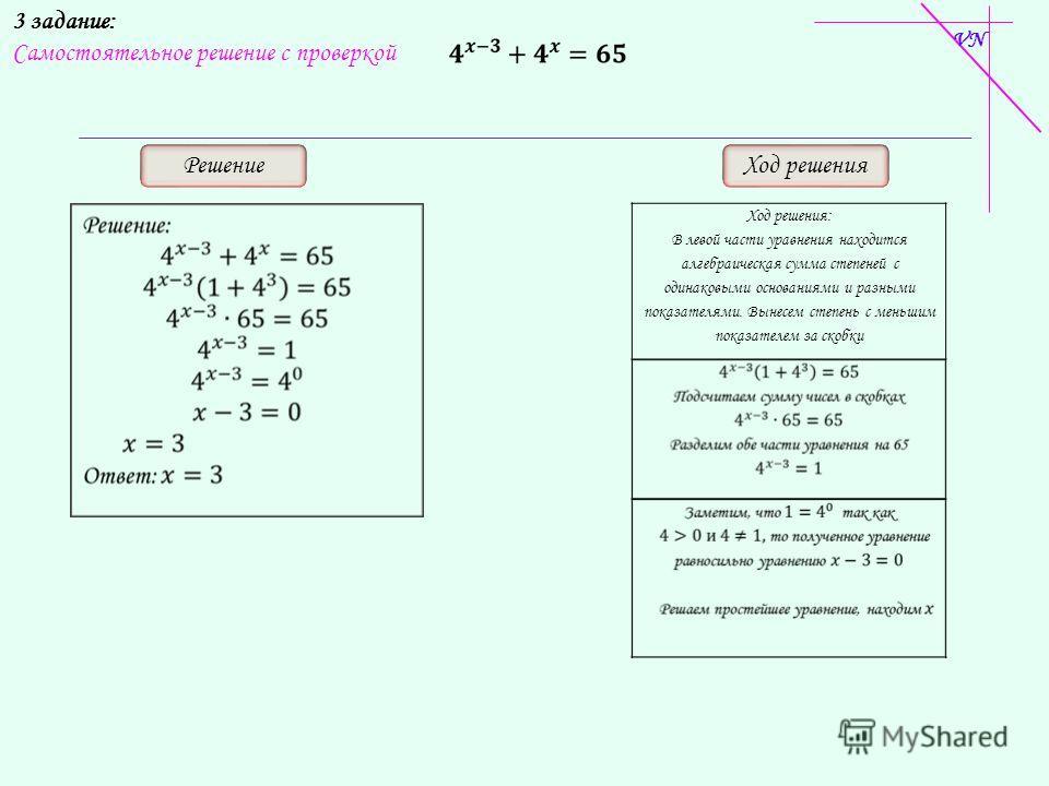3 задание: Самостоятельное решение с проверкой РешениеХод решения Ход решения: В левой части уравнения находится алгебраическая сумма степеней с одинаковыми основаниями и разными показателями. Вынесем степень с меньшим показателем за скобки VN