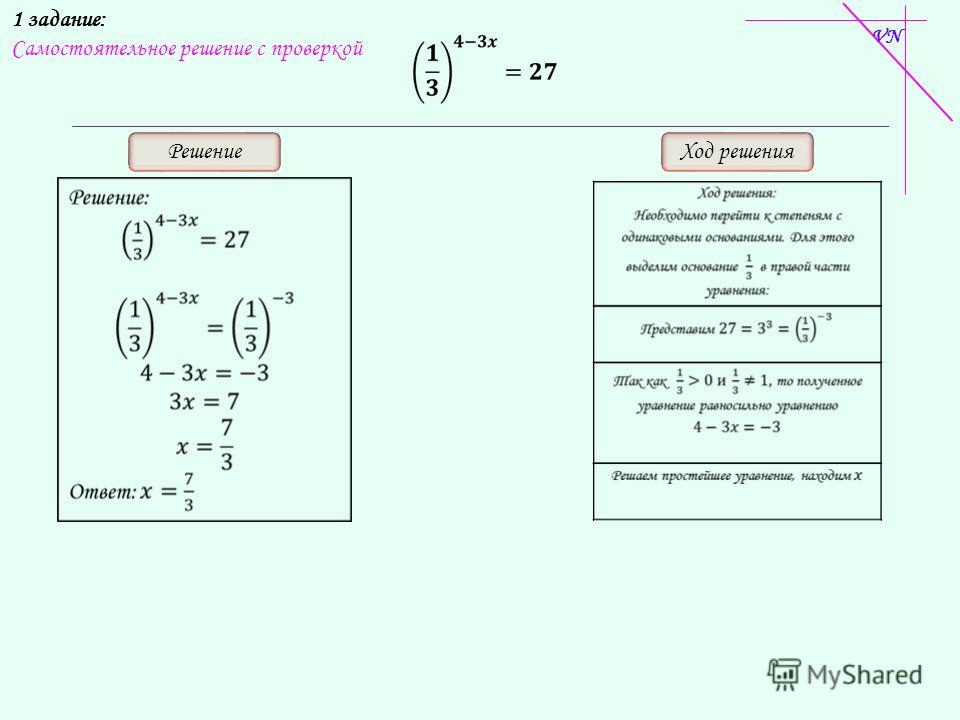 1 задание: Самостоятельное решение с проверкой РешениеХод решения VN