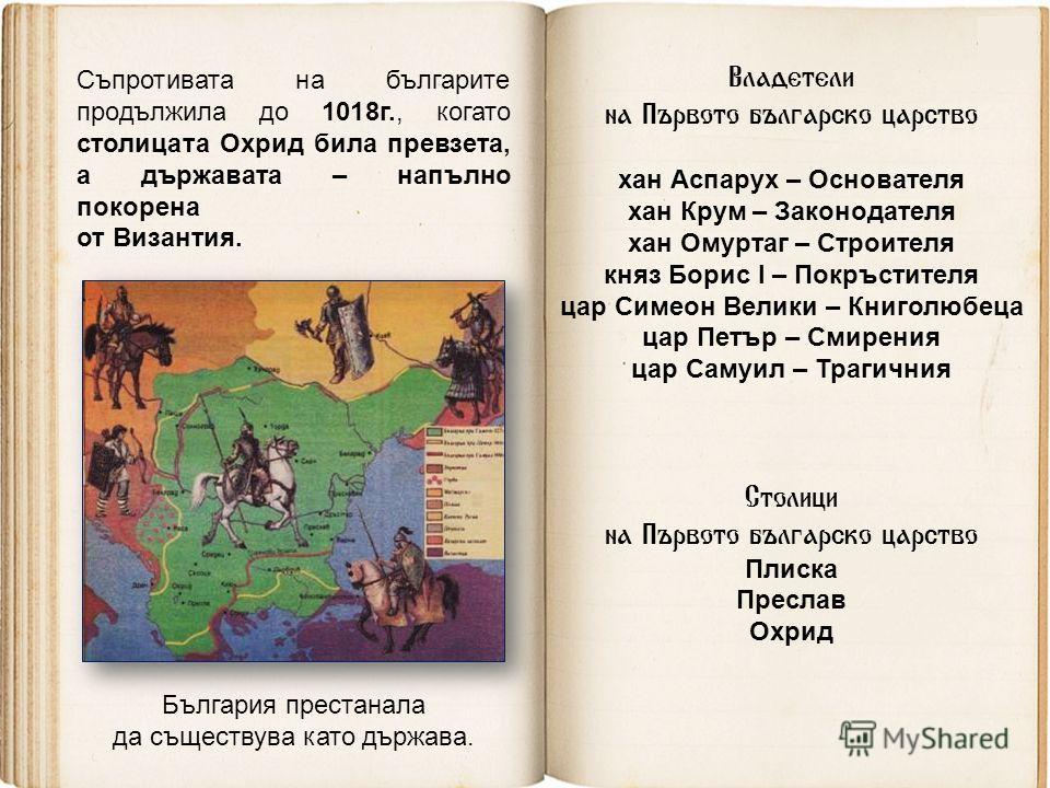 Съпротивата на българите продължила до 1018г., когато столицата Охрид била превзета, а държавата – напълно покорена от Византия. България престанала да съществува като държава. Владетели на Първото българско царство хан Аспарух – Основателя хан Крум