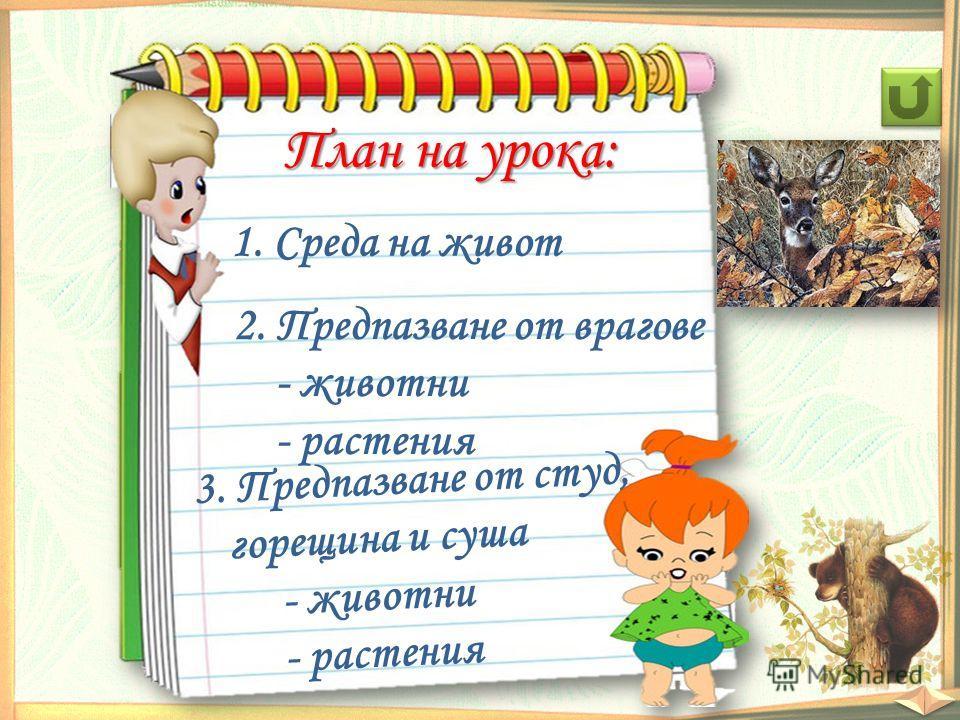 План на урока: 1. Среда на живот 2. Предпазване от врагове - животни - растения 3. Предпазване от студ, горещина и суша - животни - растения