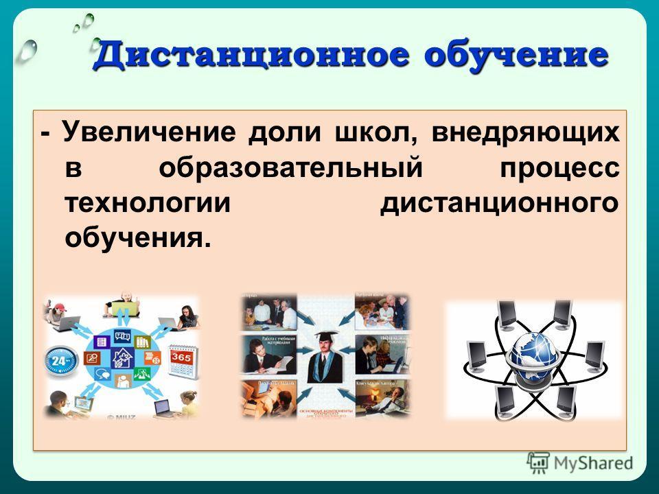 Дистанционное обучение Дистанционное обучение - Увеличение доли школ, внедряющих в образовательный процесс технологии дистанционного обучения.