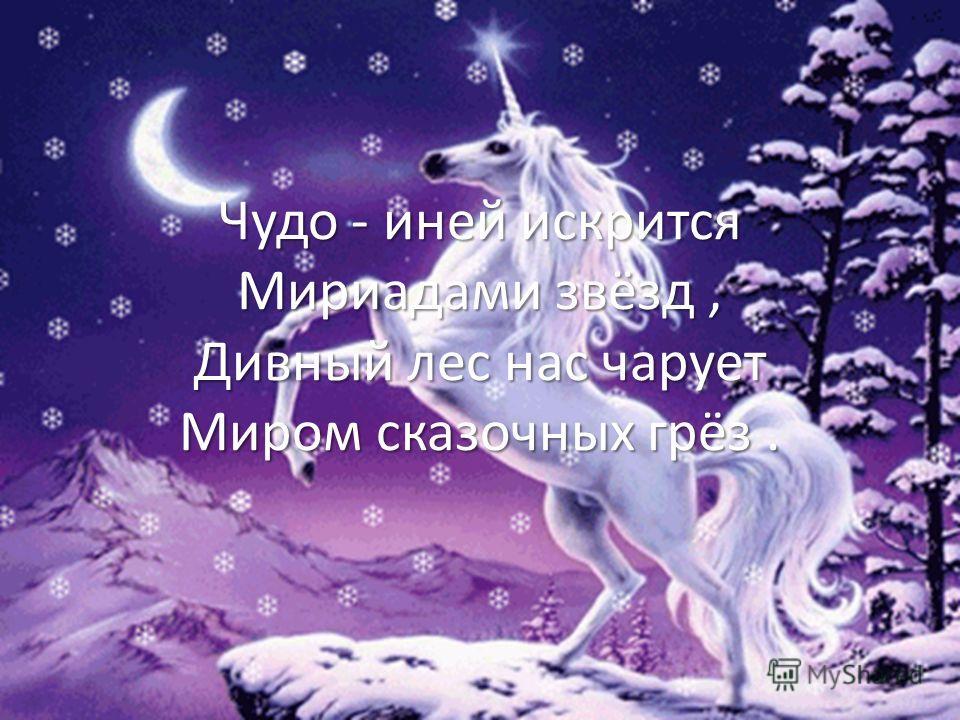 Чудо - иней искрится Мириадами звёзд, Дивный лес нас чарует Миром сказочных грёз.