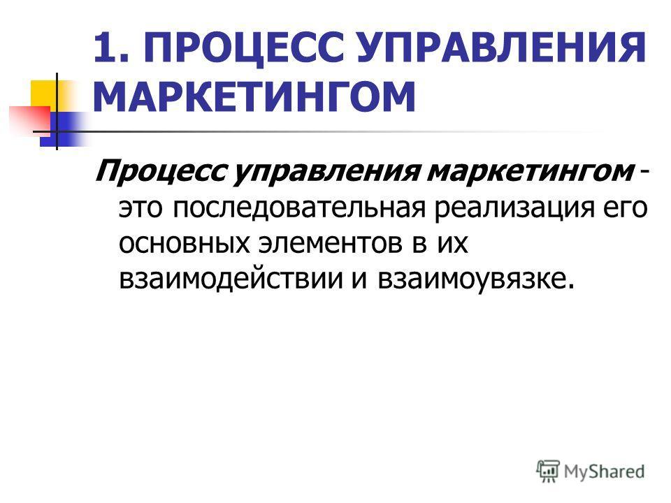 1. ПРОЦЕСС УПРАВЛЕНИЯ МАРКЕТИНГОМ Процесс управления маркетингом - это последовательная реализация его основных элементов в их взаимодействии и взаимоувязке.