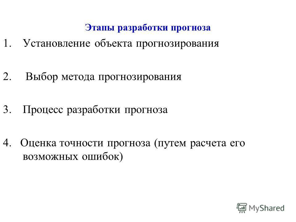 Этапы разработки прогноза 1.Установление объекта прогнозирования 2. Выбор метода прогнозирования 3.Процесс разработки прогноза 4. Оценка точности прогноза (путем расчета его возможных ошибок)