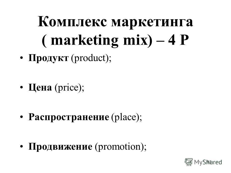 11 Комплекс маркетинга ( marketing mix) – 4 Р Продукт (product); Цена (price); Распространение (place); Продвижение (promotion);