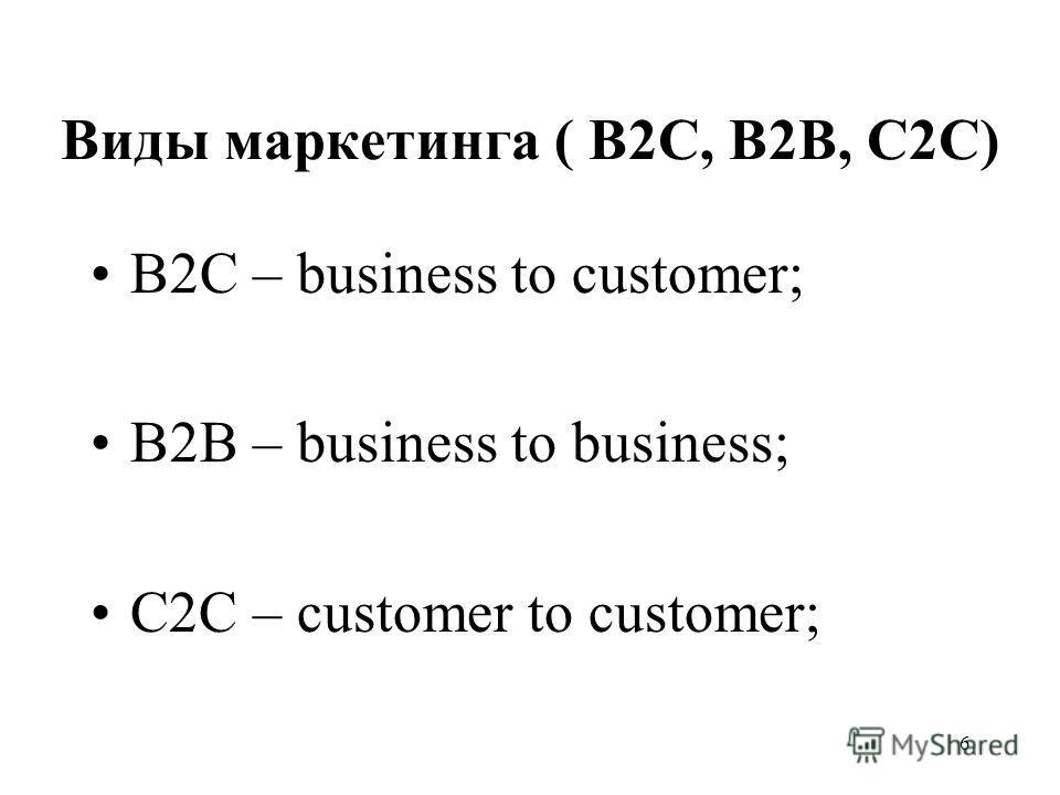 6 Виды маркетинга ( В2С, В2В, С2С) В2C – business to customer; B2B – business to business; C2C – customer to customer;