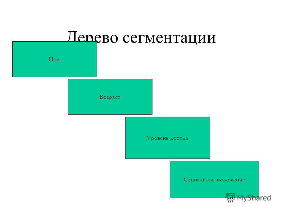 Дерево сегментации 1 Пол Возраст Уровень дохода Социальное положение