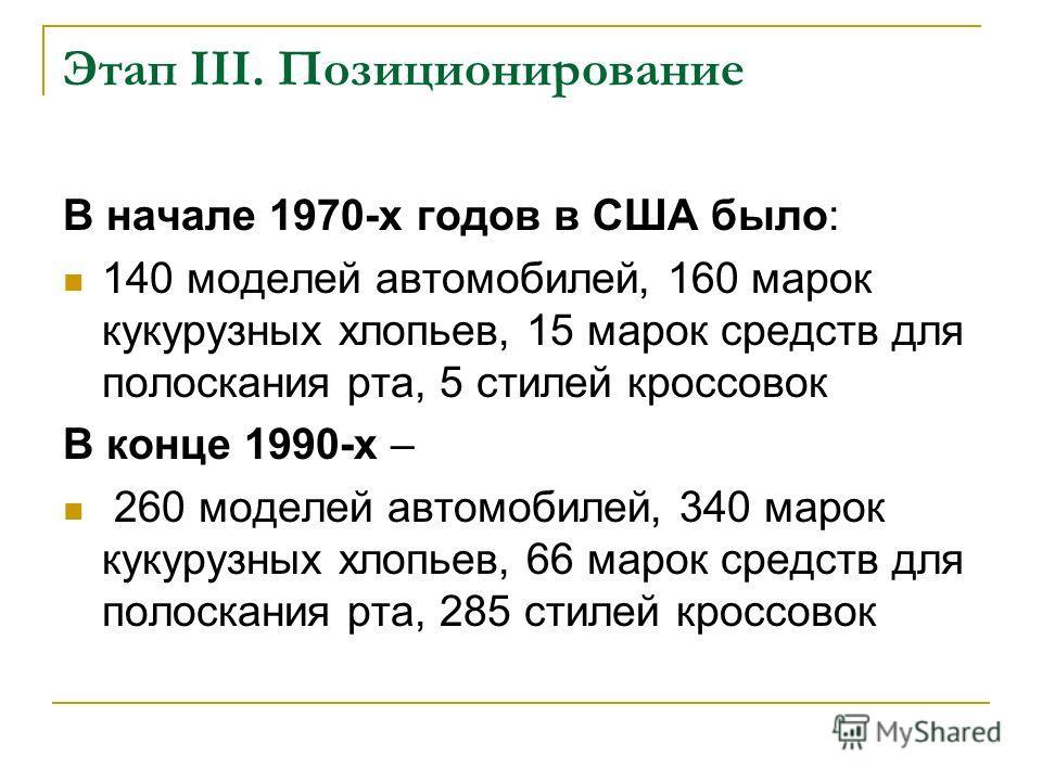 Этап III. Позиционирование В начале 1970-х годов в США было: 140 моделей автомобилей, 160 марок кукурузных хлопьев, 15 марок средств для полоскания рта, 5 стилей кроссовок В конце 1990-х – 260 моделей автомобилей, 340 марок кукурузных хлопьев, 66 мар