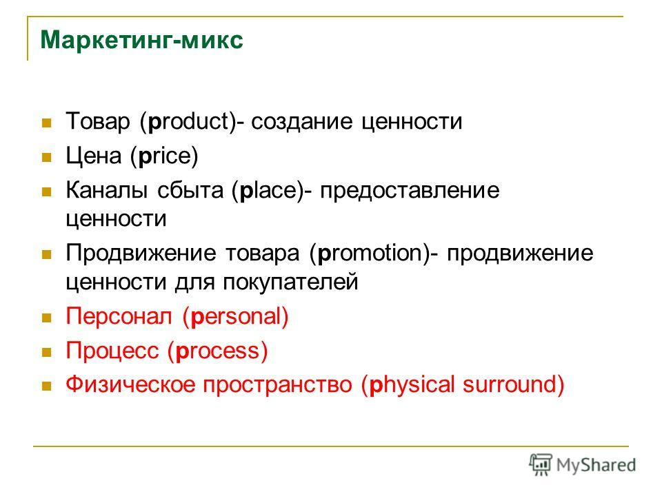 Маркетинг-микс Товар (product)- создание ценности Цена (price) Каналы сбыта (place)- предоставление ценности Продвижение товара (promotion)- продвижение ценности для покупателей Персонал (personal) Процесс (process) Физическое пространство (physical