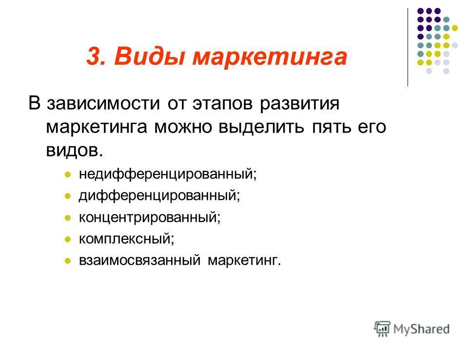 3. Виды маркетинга В зависимости от этапов развития маркетинга можно выделить пять его видов. недифференцированный; дифференцированный; концентрированный; комплексный; взаимосвязанный маркетинг.