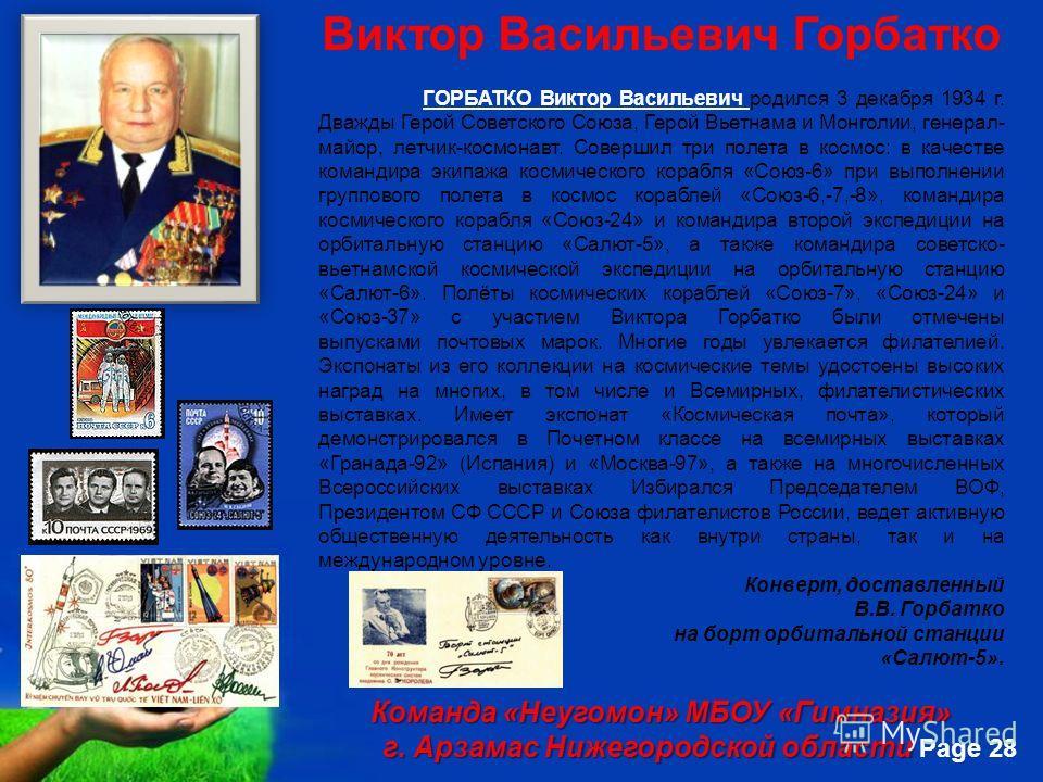 Free Powerpoint Templates Page 28 Виктор Васильевич Горбатко ГОРБАТКО Виктор Васильевич родился 3 декабря 1934 г. Дважды Герой Советского Союза, Герой Вьетнама и Монголии, генерал- майор, летчик-космонавт. Совершил три полета в космос: в качестве ком