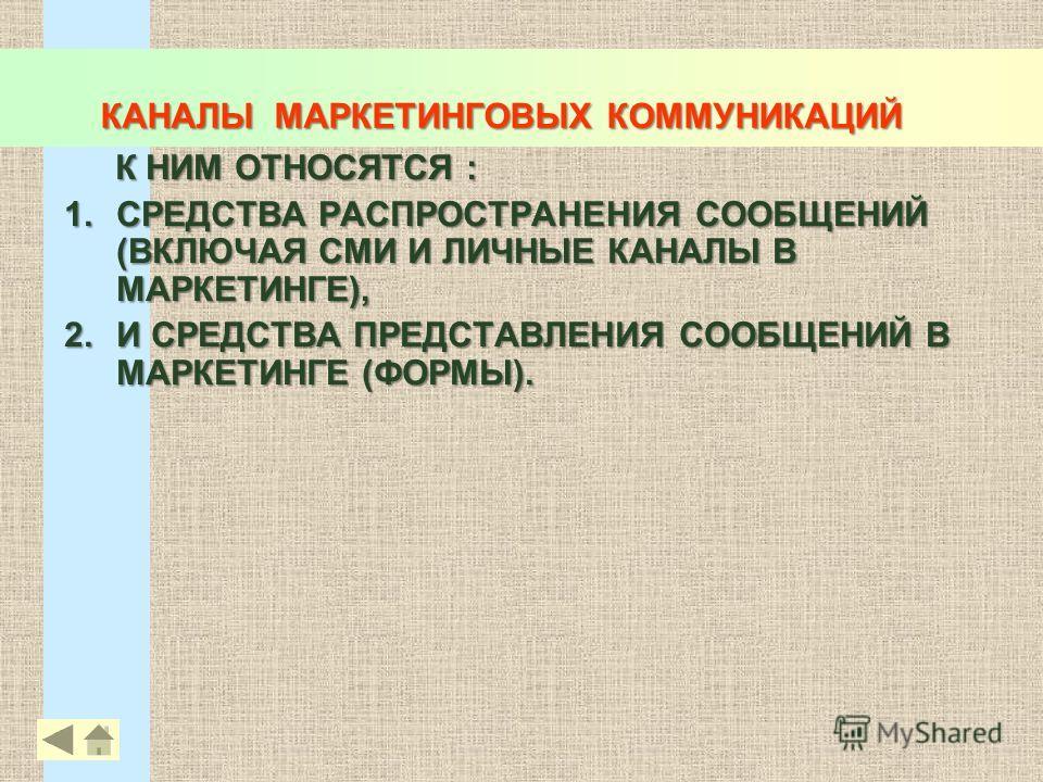 КАНАЛЫ МАРКЕТИНГОВЫХ КОММУНИКАЦИЙ К НИМ ОТНОСЯТСЯ : 1.СРЕДСТВА РАСПРОСТРАНЕНИЯ СООБЩЕНИЙ (ВКЛЮЧАЯ СМИ И ЛИЧНЫЕ КАНАЛЫ В МАРКЕТИНГЕ), 2.И СРЕДСТВА ПРЕДСТАВЛЕНИЯ СООБЩЕНИЙ В МАРКЕТИНГЕ (ФОРМЫ). 24