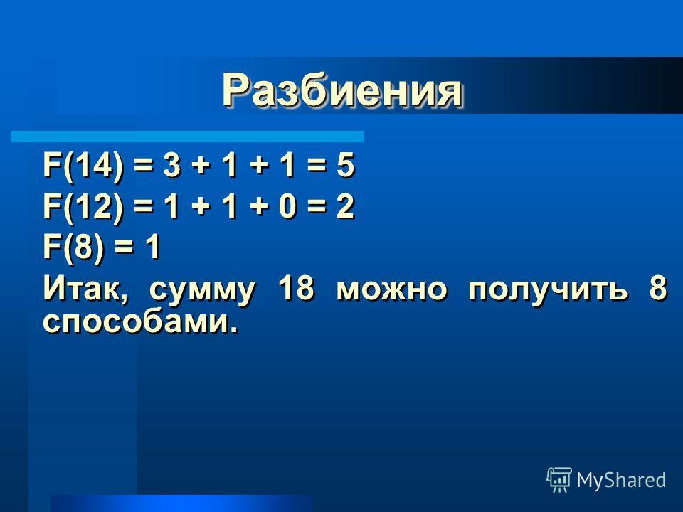 РазбиенияРазбиения F(14) = 3 + 1 + 1 = 5 F(12) = 1 + 1 + 0 = 2 F(8) = 1 Итак, сумму 18 можно получить 8 способами. F(14) = 3 + 1 + 1 = 5 F(12) = 1 + 1 + 0 = 2 F(8) = 1 Итак, сумму 18 можно получить 8 способами.