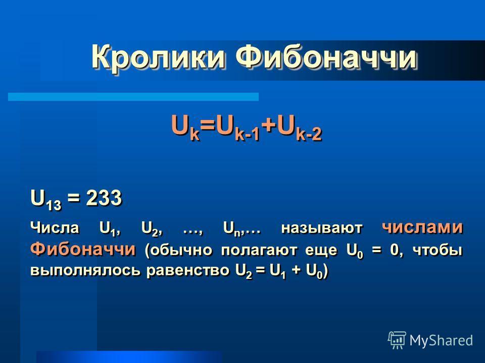 Кролики Фибоначчи U k =U k-1 +U k-2 U 13 = 233 Числа U 1, U 2, …, U n,… называют числами Фибоначчи (обычно полагают еще U 0 = 0, чтобы выполнялось равенство U 2 = U 1 + U 0 ) U k =U k-1 +U k-2 U 13 = 233 Числа U 1, U 2, …, U n,… называют числами Фибо