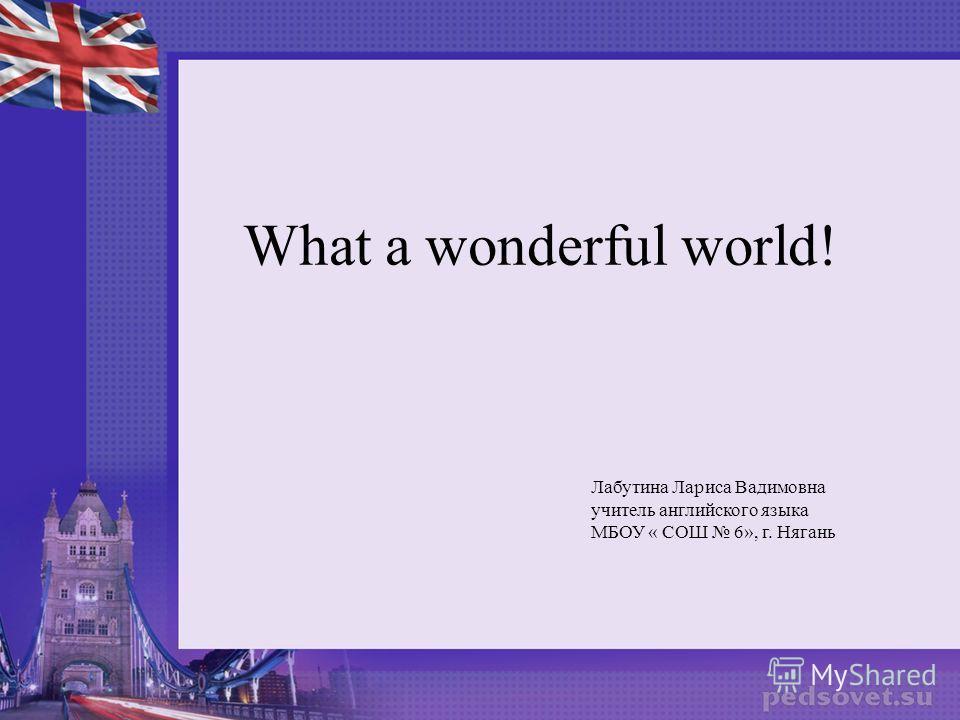 What a wonderful world! Лабутина Лариса Вадимовна учитель английского языка МБОУ « СОШ 6», г. Нягань