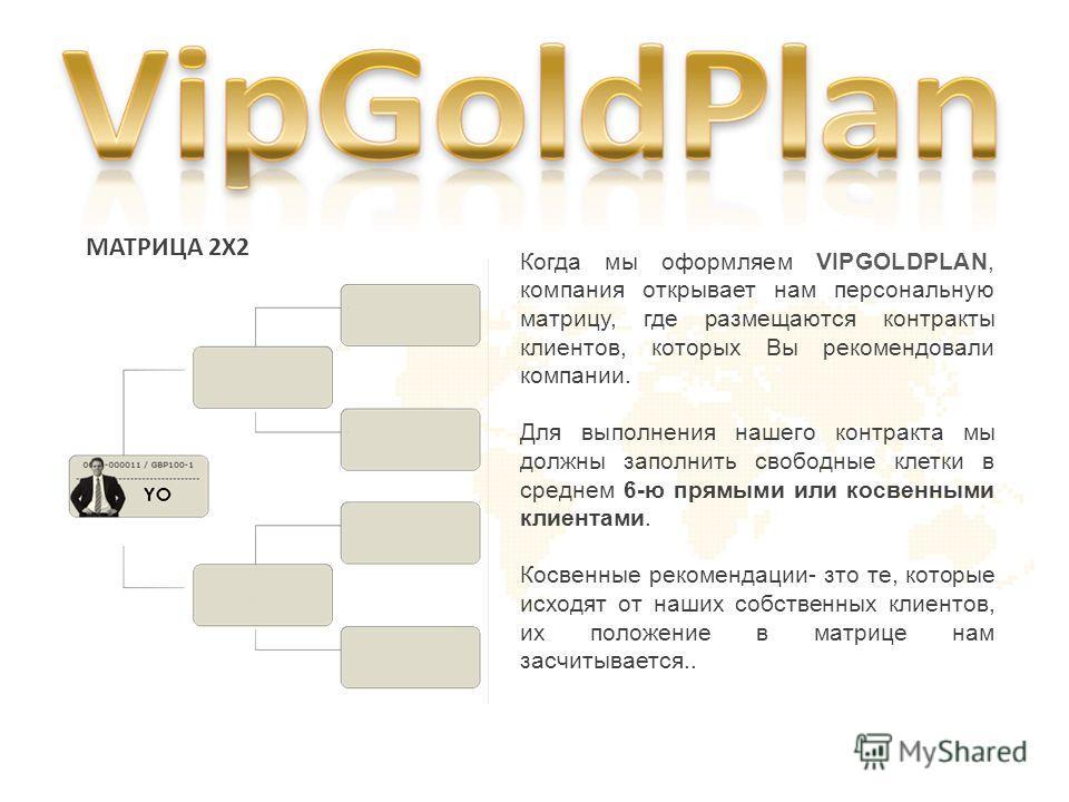 MATРИЦА 2X2 Когда мы оформляем VIPGOLDPLAN, компания открывает нам персональную матрицу, где размещаются контракты клиентов, которых Вы рекомендовали компании. Для выполнения нашего контракта мы должны заполнить свободные клетки в среднем 6-ю прямыми