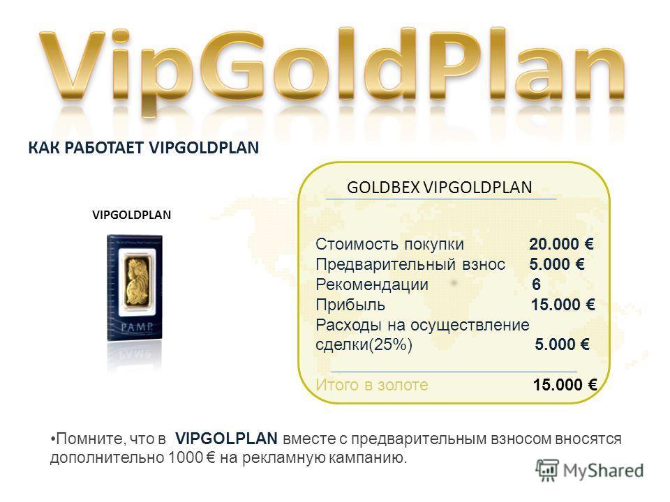 VIPGOLDPLAN Стоимость покупки 20.000 Предварительный взнос 5.000 Рекомендации 6 Прибыль 15.000 Расходы на осуществление сделки(25%) 5.000 Итого в золоте 15.000 GOLDBEX VIPGOLDPLAN Помните, что в VIPGOLPLAN вместе с предварительным взносом вносятся до