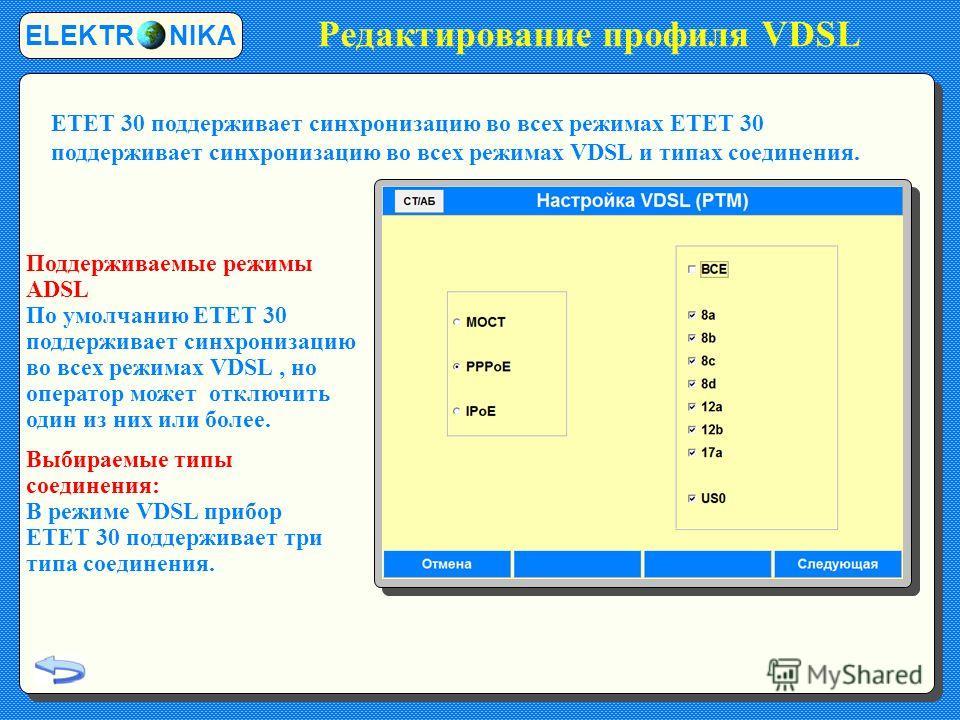 Редактирование профиля VDSL ELEKTR NIKA Поддерживаемые режимы ADSL По умолчанию ETET 30 поддерживает синхронизацию во всех режимах VDSL, но оператор может отключить один из них или более. Выбираемые типы соединения: В режиме VDSL прибор ETET 30 подде