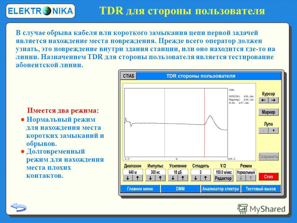 TDR для стороны пользователя ELEKTR NIKA В случае обрыва кабеля или короткого замыкания цепи первой задачей является нахождение места повреждения. Прежде всего оператор должен узнать, это повреждение внутри здания станции, или оно находится где-то на