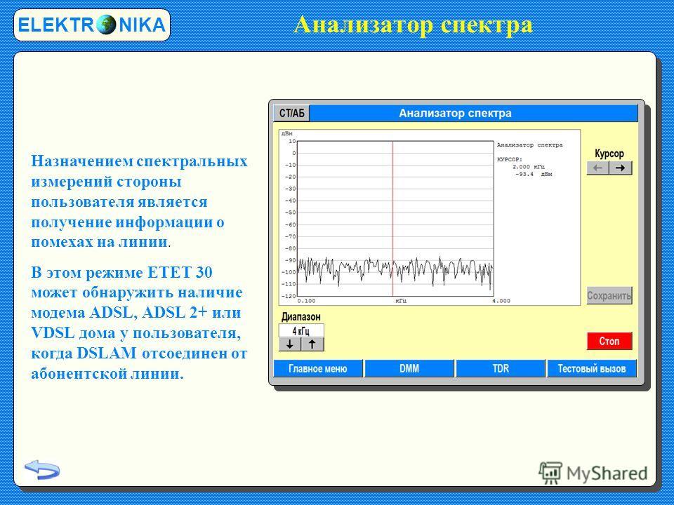 Анализатор спектра ELEKTR NIKA Назначением спектральных измерений стороны пользователя является получение информации о помехах на линии. В этом режиме ETET 30 может обнаружить наличие модема ADSL, ADSL 2+ или VDSL дома у пользователя, когда DSLAM отс