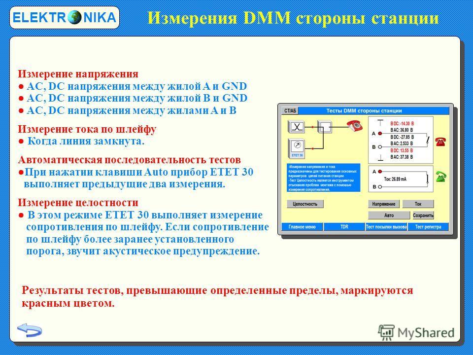 Измерения DMM стороны станции ELEKTR NIKA Измерение напряжения AC, DC напряжения между жилой A и GND AC, DC напряжения между жилой B и GND AC, DC напряжения между жилами A и B Измерение тока по шлейфу Когда линия замкнута. Автоматическая последовател