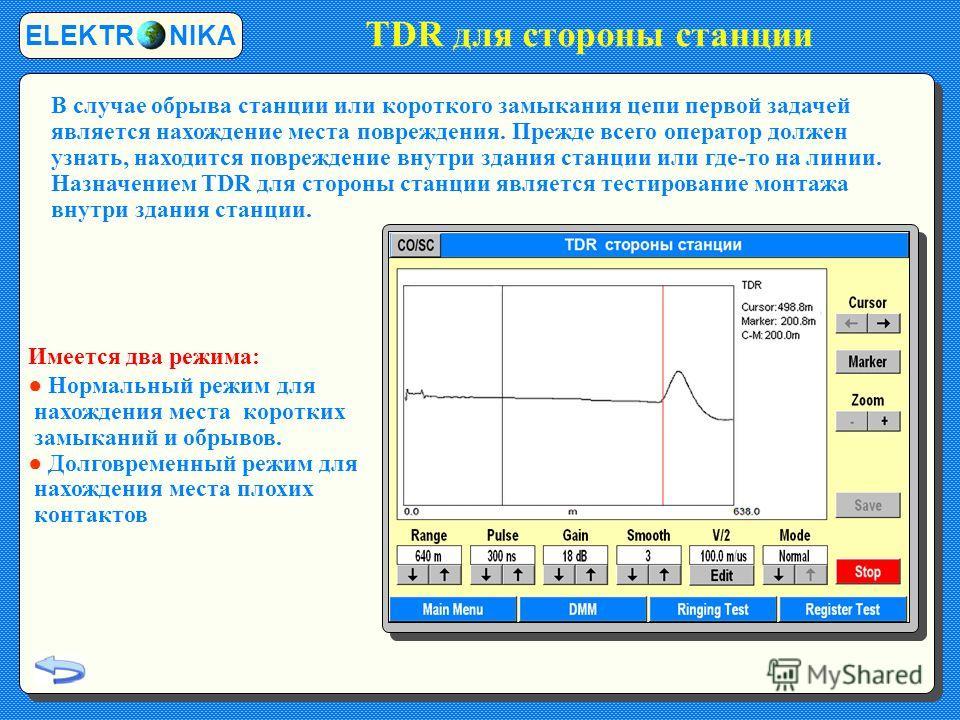 TDR для стороны станции ELEKTR NIKA В случае обрыва станции или короткого замыкания цепи первой задачей является нахождение места повреждения. Прежде всего оператор должен узнать, находится повреждение внутри здания станции или где-то на линии. Назна