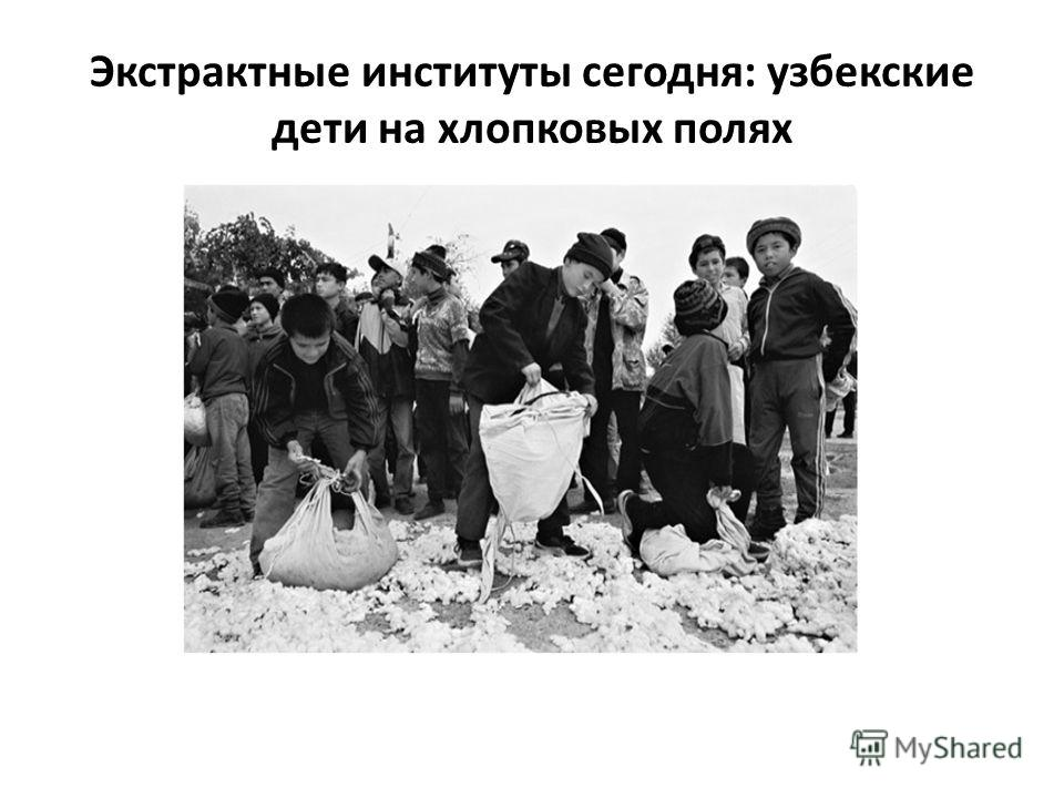 Экстрактные институты сегодня: узбекские дети на хлопковых полях
