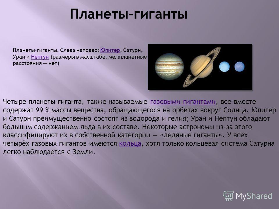 Планеты-гиганты Четыре планеты-гиганта, также называемые газовыми гигантами, все вместе содержат 99 % массы вещества, обращающегося на орбитах вокруг Солнца. Юпитер и Сатурн преимущественно состоят из водорода и гелия; Уран и Нептун обладают большим