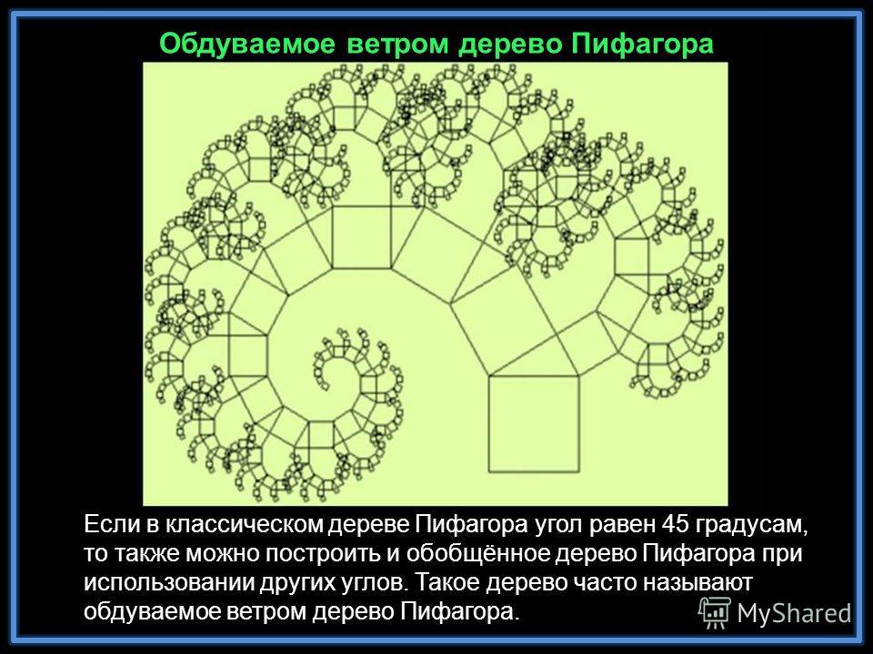 Обдуваемое ветром дерево Пифагора Если в классическом дереве Пифагора угол равен 45 градусам, то также можно построить и обобщённое дерево Пифагора при использовании других углов. Такое дерево часто называют обдуваемое ветром дерево Пифагора.
