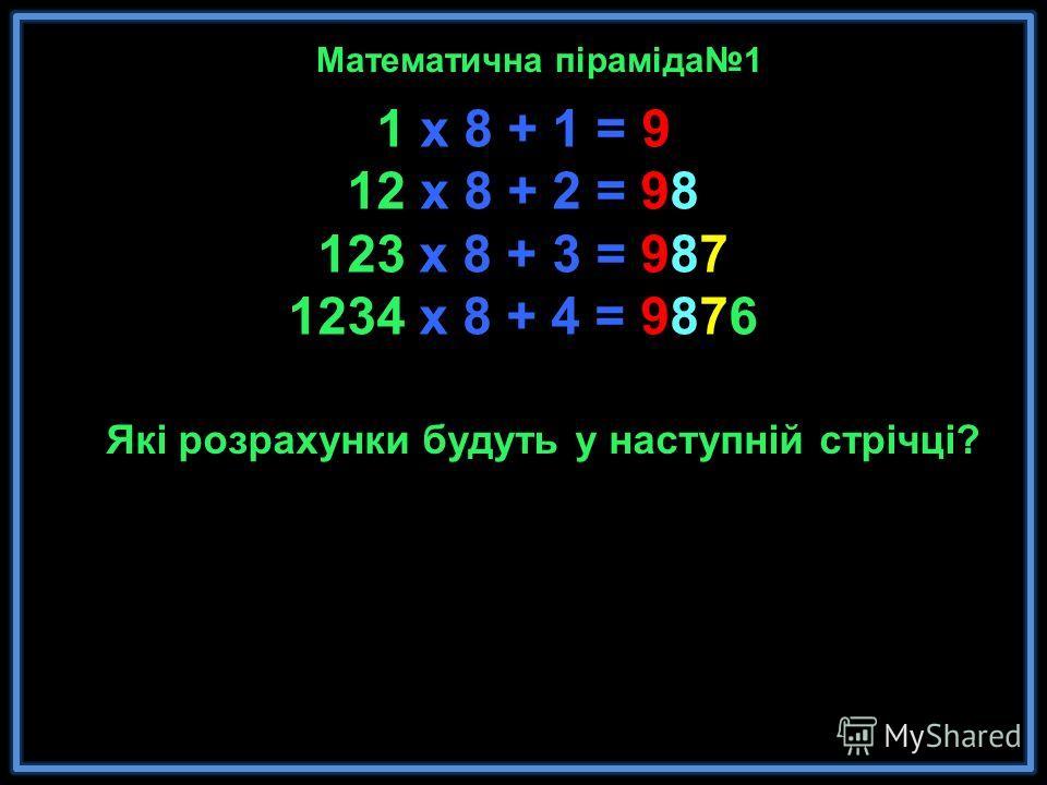 1 x 8 + 1 = 9 12 x 8 + 2 = 98 123 x 8 + 3 = 987 1234 x 8 + 4 = 9876 12345 x 8 + 5 = 987 65 123456 x 8 + 6 = 987654 1234567 x 8 + 7 = 9876543 12345678 x 8 + 8 = 98765432 123456789 x 8 + 9 = 987654321 Математика - это красота и чудо в чистом виде. Мате