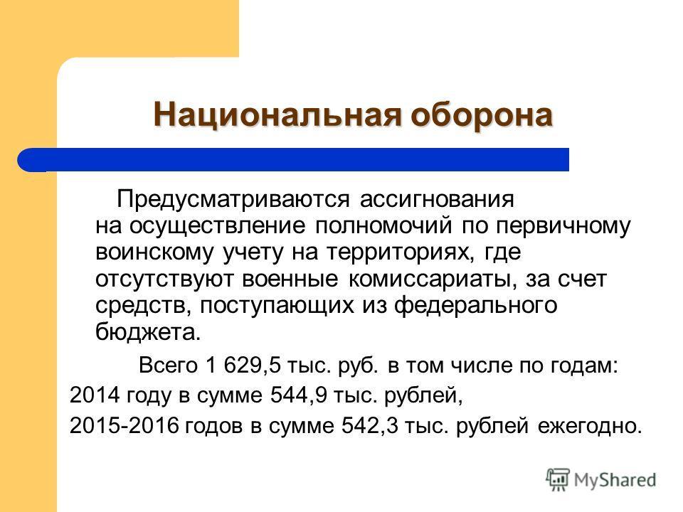 Национальная оборона Предусматриваются ассигнования на осуществление полномочий по первичному воинскому учету на территориях, где отсутствуют военные комиссариаты, за счет средств, поступающих из федерального бюджета. Всего 1 629,5 тыс. руб. в том чи