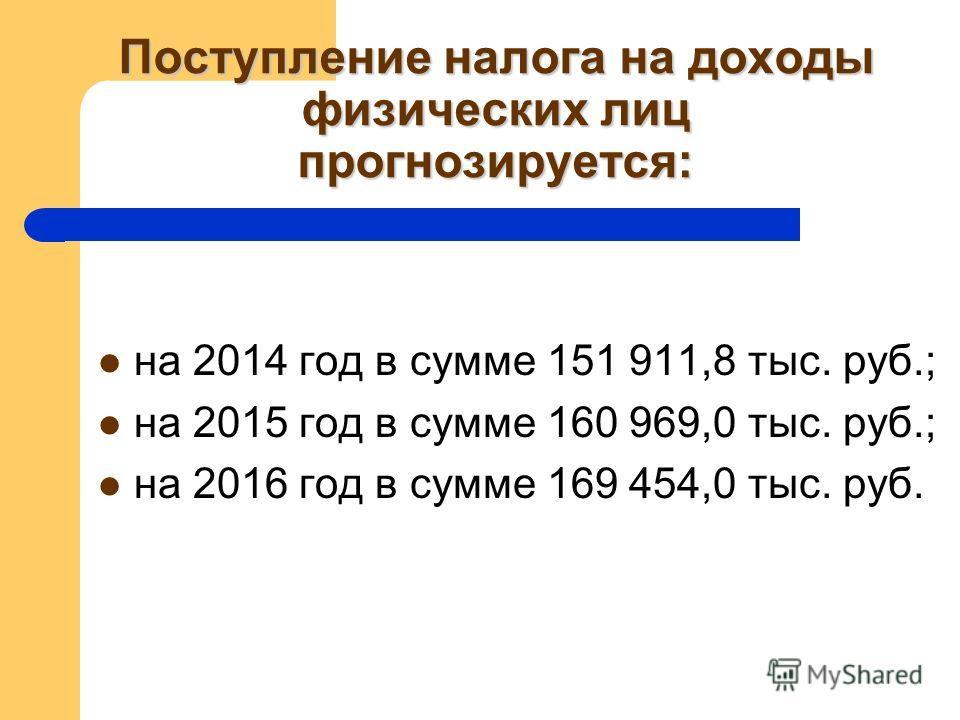 Поступление налога на доходы физических лиц прогнозируется: на 2014 год в сумме 151 911,8 тыс. руб.; на 2015 год в сумме 160 969,0 тыс. руб.; на 2016 год в сумме 169 454,0 тыс. руб.