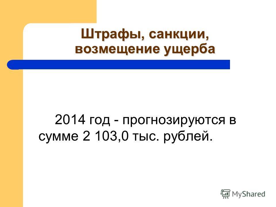 Штрафы, санкции, возмещение ущерба 2014 год - прогнозируются в сумме 2 103,0 тыс. рублей.