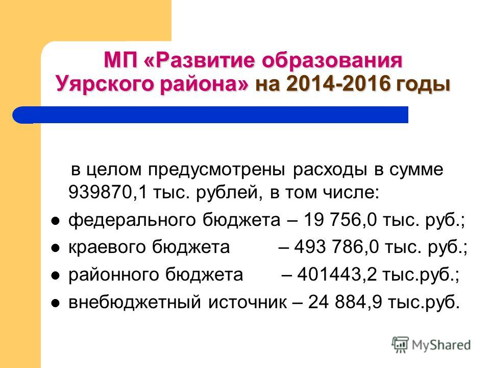 МП «Развитие образования Уярского района» на 2014-2016 годы в целом предусмотрены расходы в сумме 939870,1 тыс. рублей, в том числе: федерального бюджета – 19 756,0 тыс. руб.; краевого бюджета – 493 786,0 тыс. руб.; районного бюджета – 401443,2 тыс.р