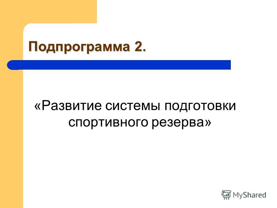 Подпрограмма 2. «Развитие системы подготовки спортивного резерва»