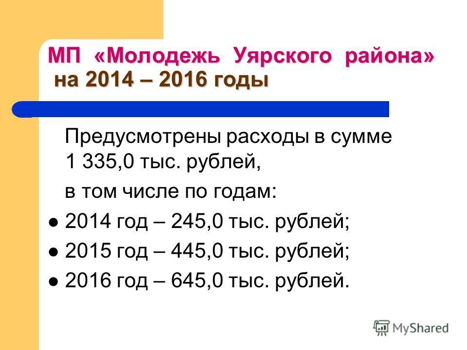 МП «Молодежь Уярского района» на 2014 – 2016 годы Предусмотрены расходы в сумме 1 335,0 тыс. рублей, в том числе по годам: 2014 год – 245,0 тыс. рублей; 2015 год – 445,0 тыс. рублей; 2016 год – 645,0 тыс. рублей.