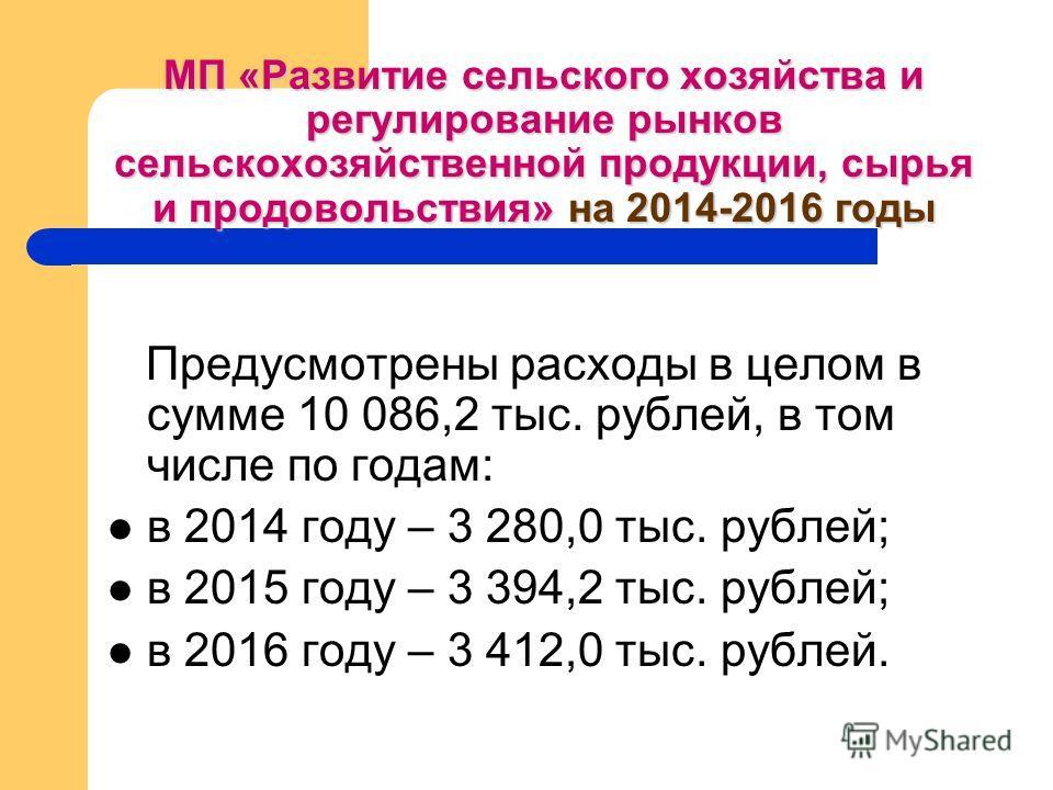 МП «Развитие сельского хозяйства и регулирование рынков сельскохозяйственной продукции, сырья и продовольствия» на 2014-2016 годы Предусмотрены расходы в целом в сумме 10 086,2 тыс. рублей, в том числе по годам: в 2014 году – 3 280,0 тыс. рублей; в 2