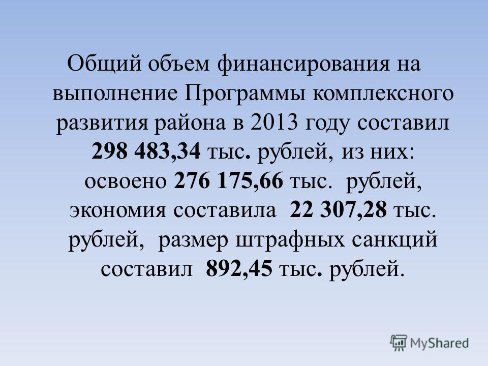 Общий объем финансирования на выполнение Программы комплексного развития района в 2013 году составил 298 483,34 тыс. рублей, из них: освоено 276 175,66 тыс. рублей, экономия составила 22 307,28 тыс. рублей, размер штрафных санкций составил 892,45 тыс